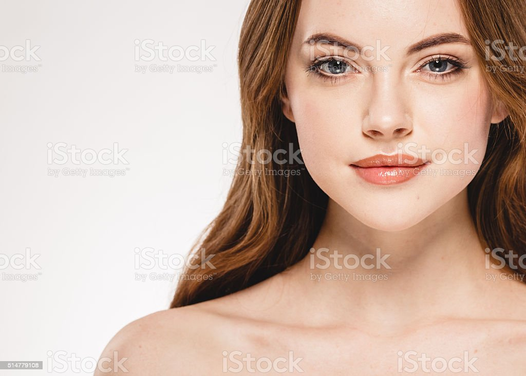 Beautiful woman face close up portrait studio on white stock photo