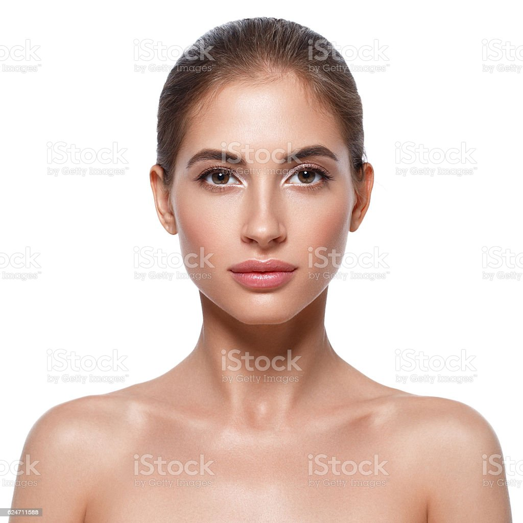 Beautiful woman face close up portrait. Studio shot. stock photo