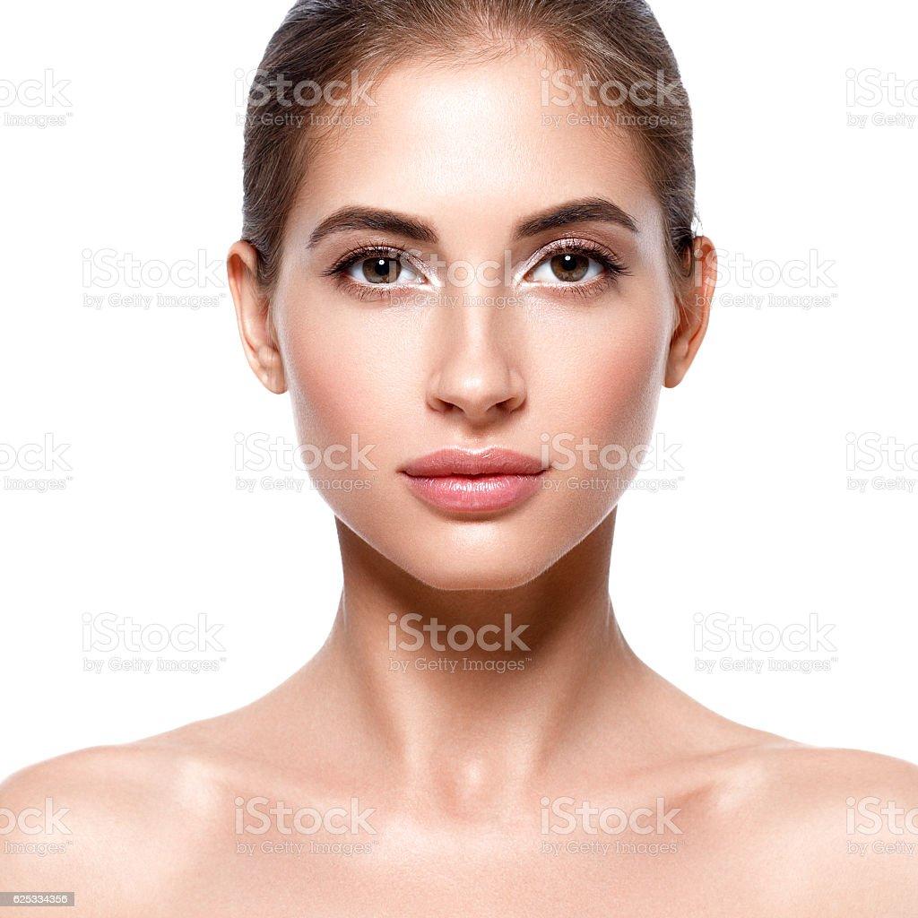 Beautiful woman face close up portrait. Studio shot. – zdjęcie
