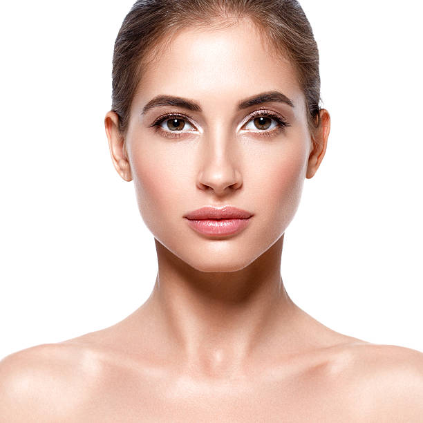 beautiful woman face close up portrait. studio shot. - close to stock photos and pictures