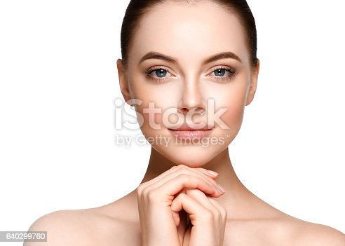 istock Beautiful Woman Face Portrait. Beauty Model. isolated on white 640299760