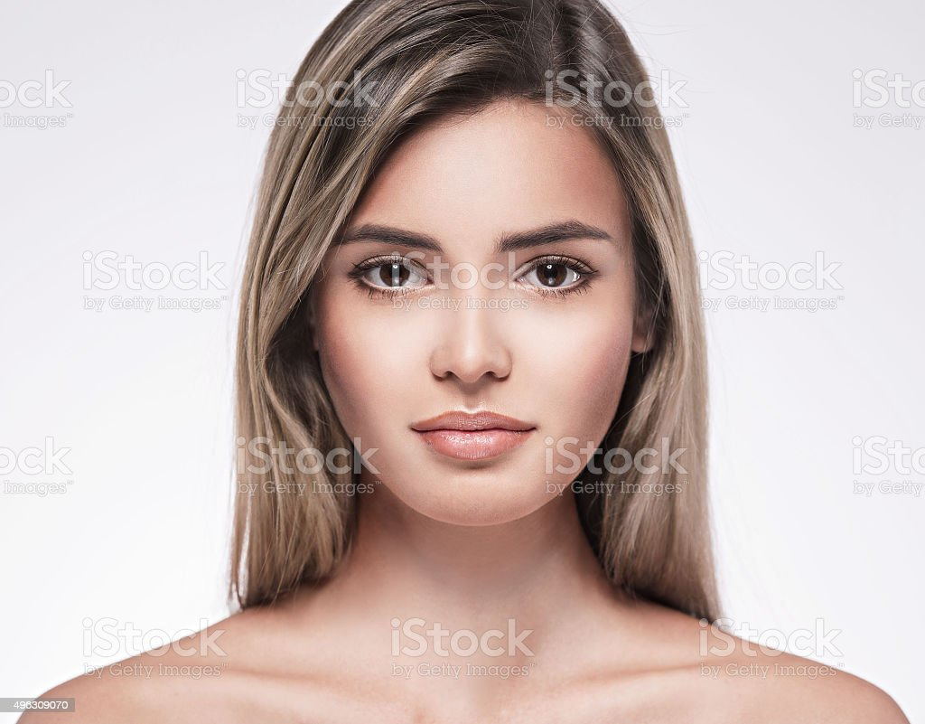 Beautiful woman face portrait close up studio on white blonde royalty-free stock photo