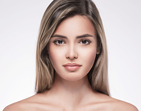 Beautiful Woman Face Portrait Close Up Studio On White Blonde Stock Photo - Download Image Now