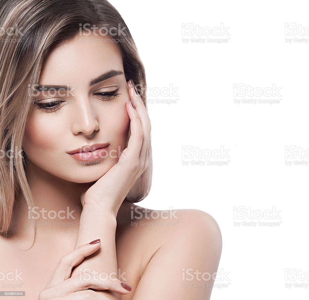 Beautiful woman face portrait close up studio on white blonde stock photo