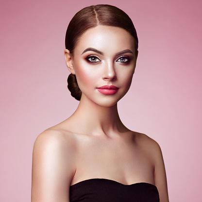beautiful woman face with perfect makeup stock photo