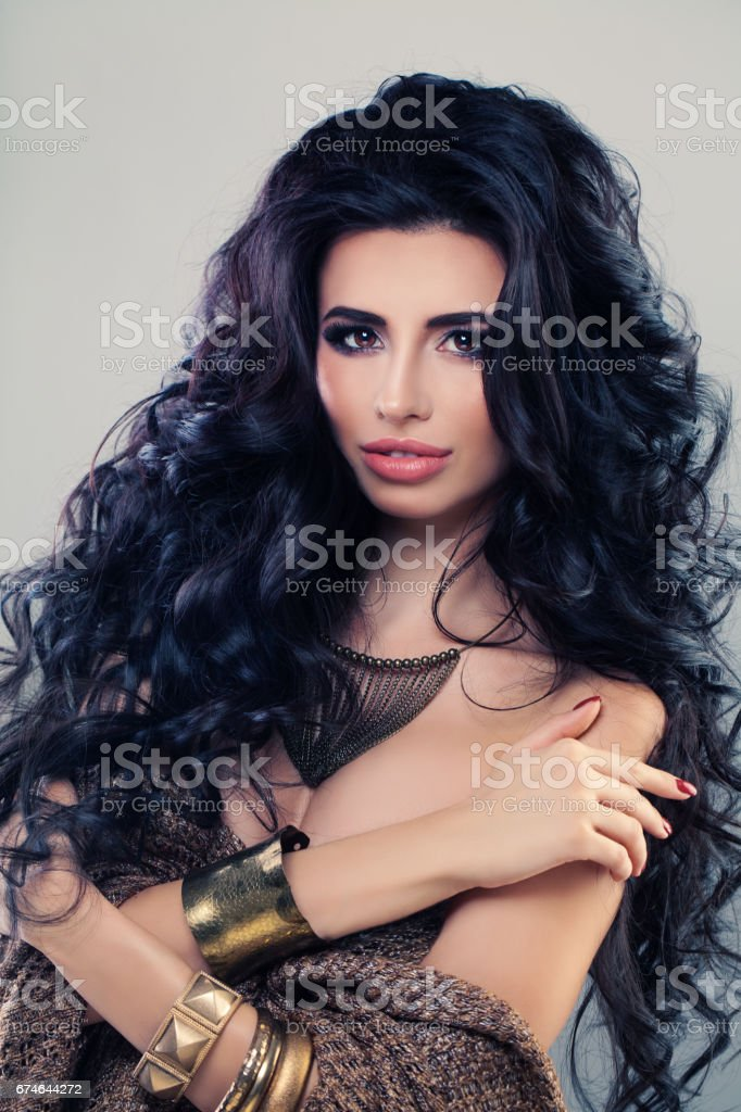 Beautiful Woman Fashion Model With Dark Curly Hair Sexy Brunette Girl With Perfect Hairstyle And