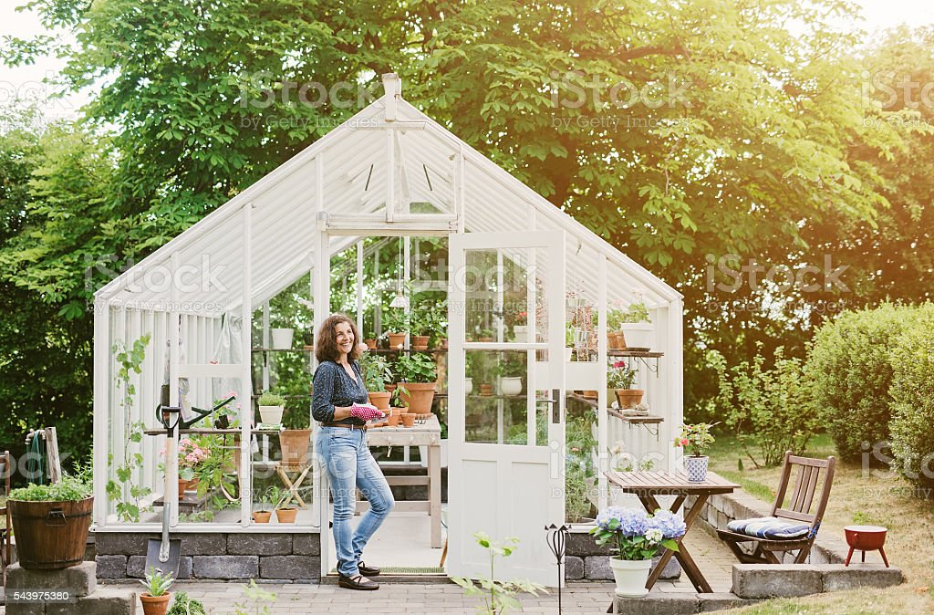 Beautiful woman gardening by her greenhouse stock photo