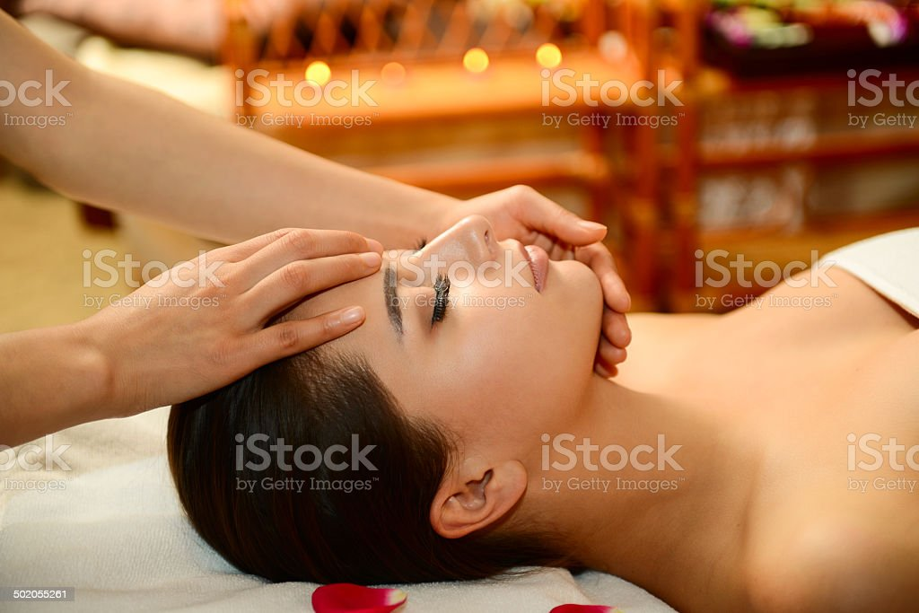 Beautiful woman getting spa treatment stock photo
