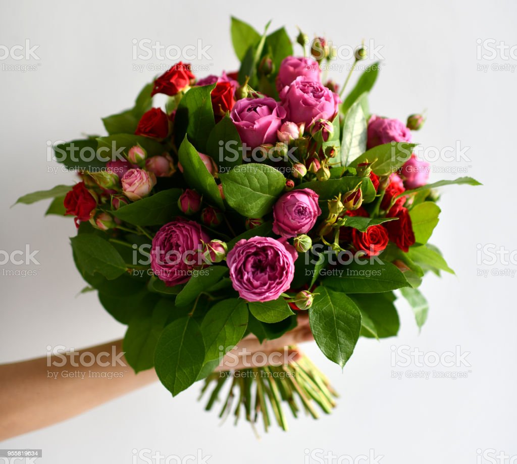 Beautiful Woman Hand Hold Bouquet Of Red And Pink Roses Peony