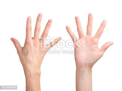 istock Beautiful woman hand showing the five fingers. Front and back side view. 821656090