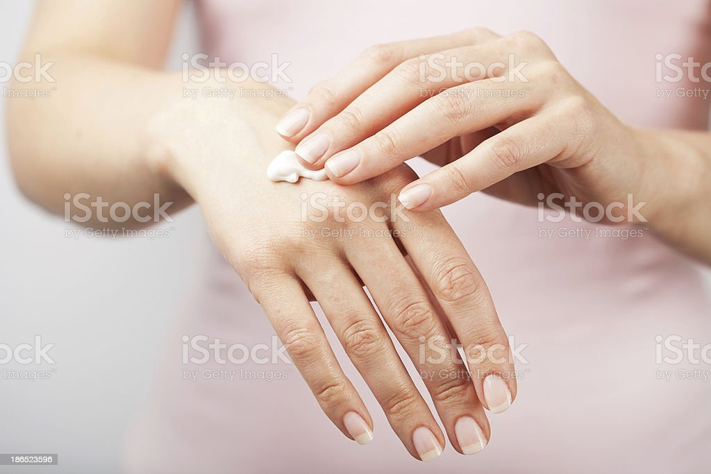 beautiful woman hands with cream royalty-free stock photo