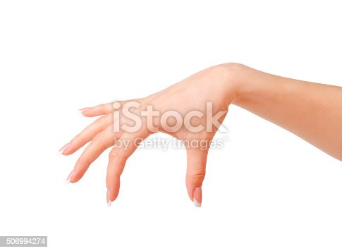 istock Beautiful woman hands with french manicure isolated 506994274