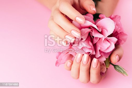 946930880istockphoto Beautiful Woman Hands with fresh eustoma. Spa and Manicure concept. Female hands with pink manicure. Soft skin skincare concept. Beauty nails. Over beige background 1187591685