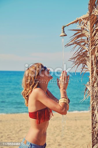 545091450istockphoto Beautiful woman having a shower on the tropical beach. Summer concept. 1175534463
