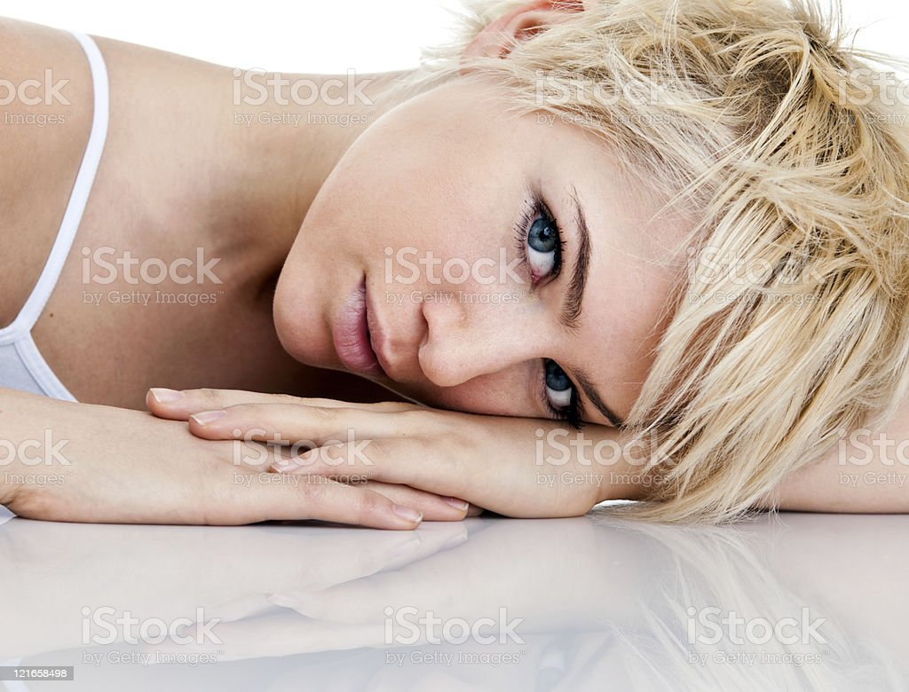 Beautiful woman headshot stock photo