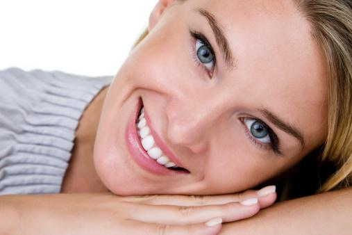 Beautiful woman headshot stock photo