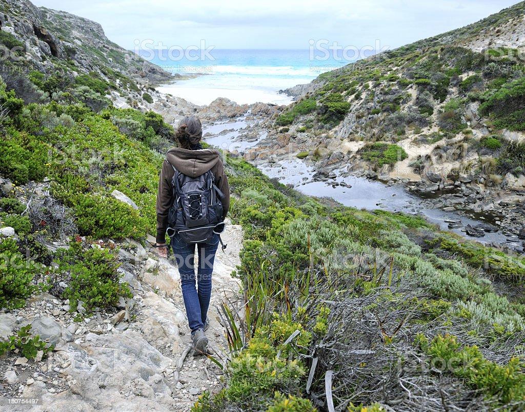 Beautiful woman Hiking, Kangaroo Island, Australia stock photo