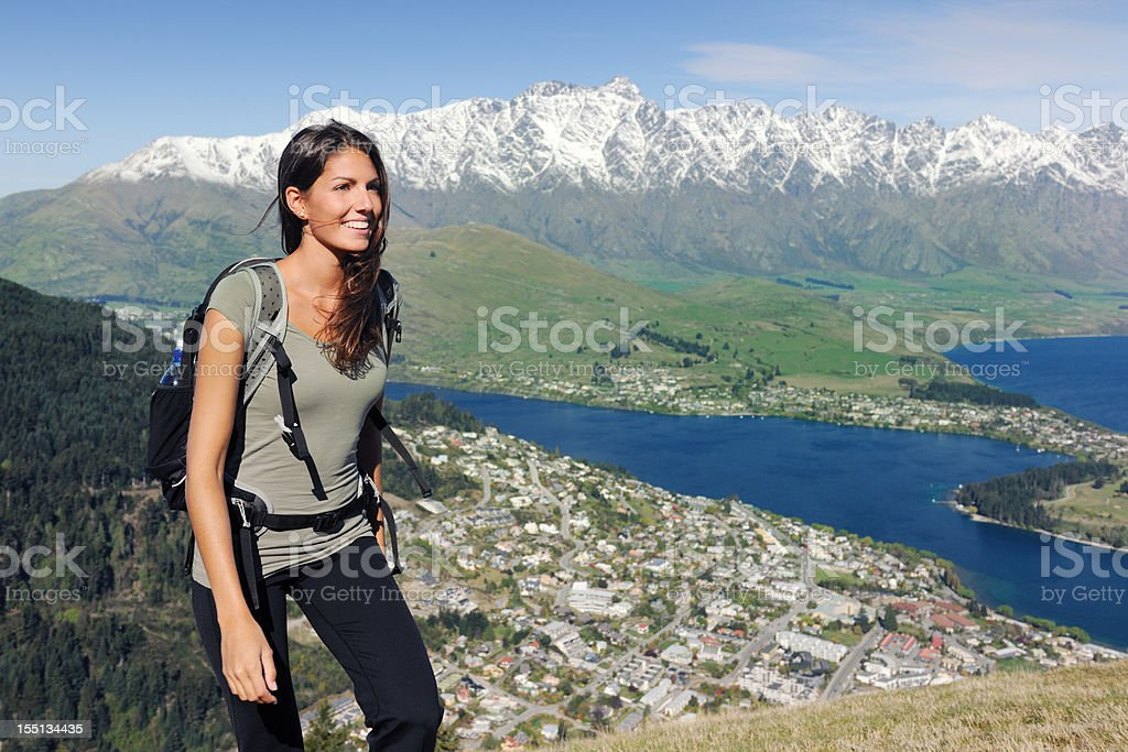 Beautiful woman hiking (XXXL) stock photo