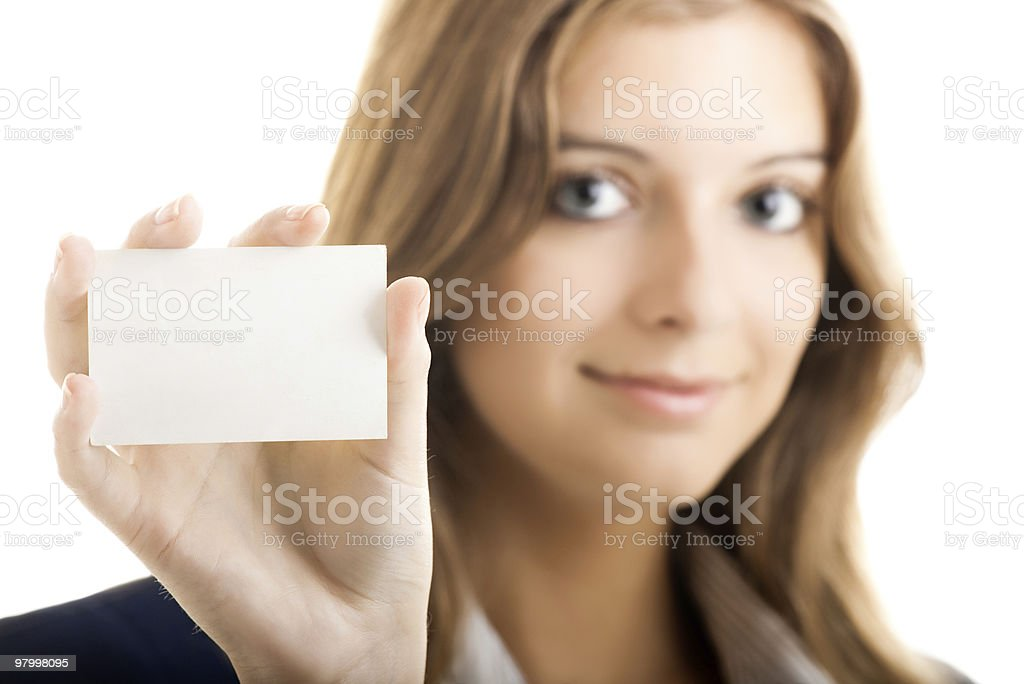 Beautiful woman holding a business card royalty-free stock photo