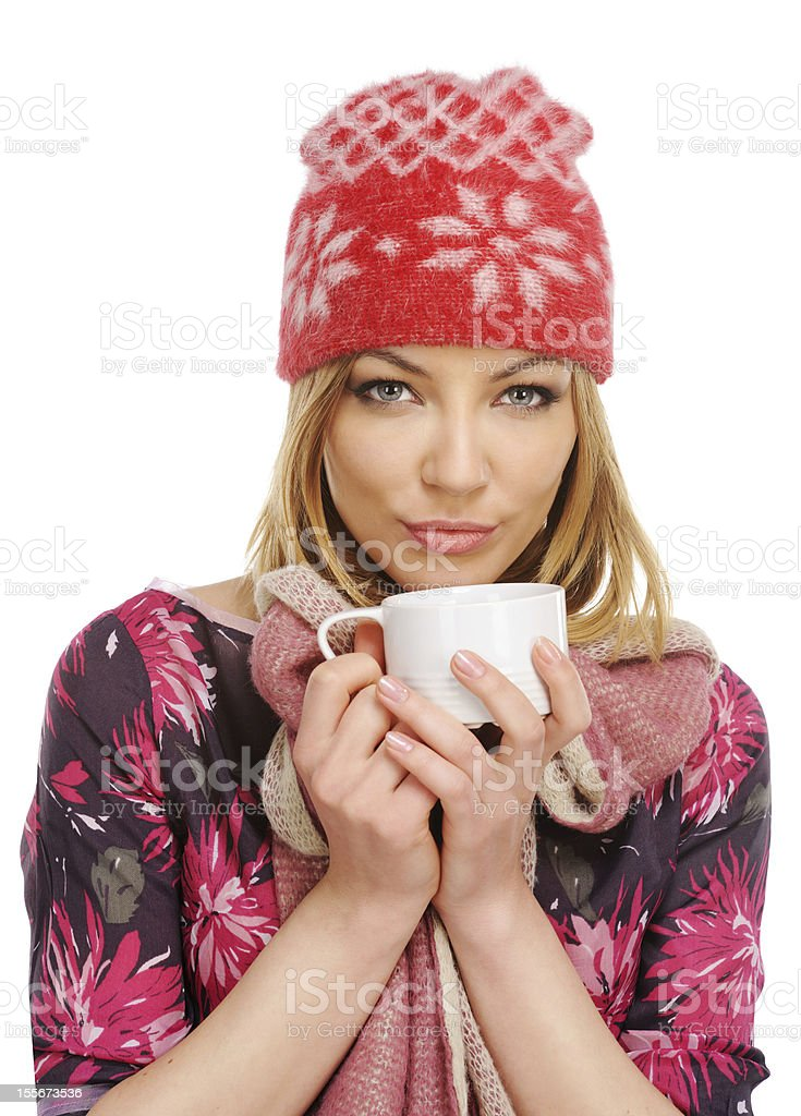 Beautiful woman holding a cup of coffee royalty-free stock photo