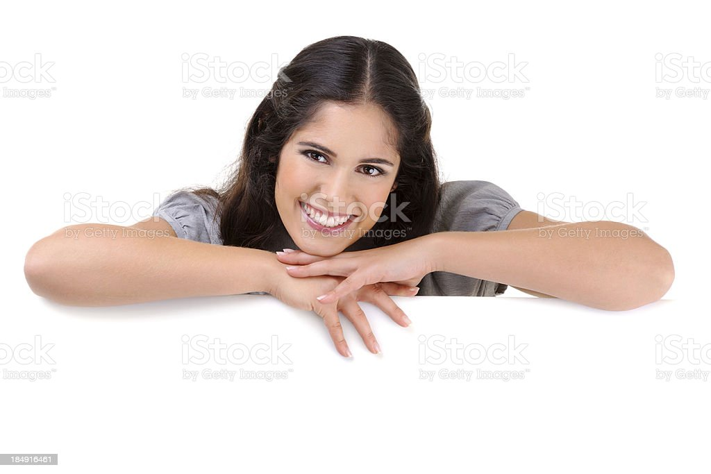 Beautiful woman holding a white billboard royalty-free stock photo