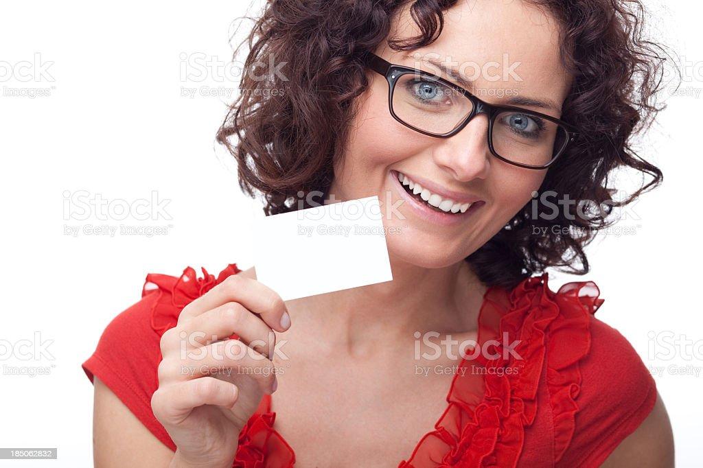 Beautiful woman holding blank card stock photo