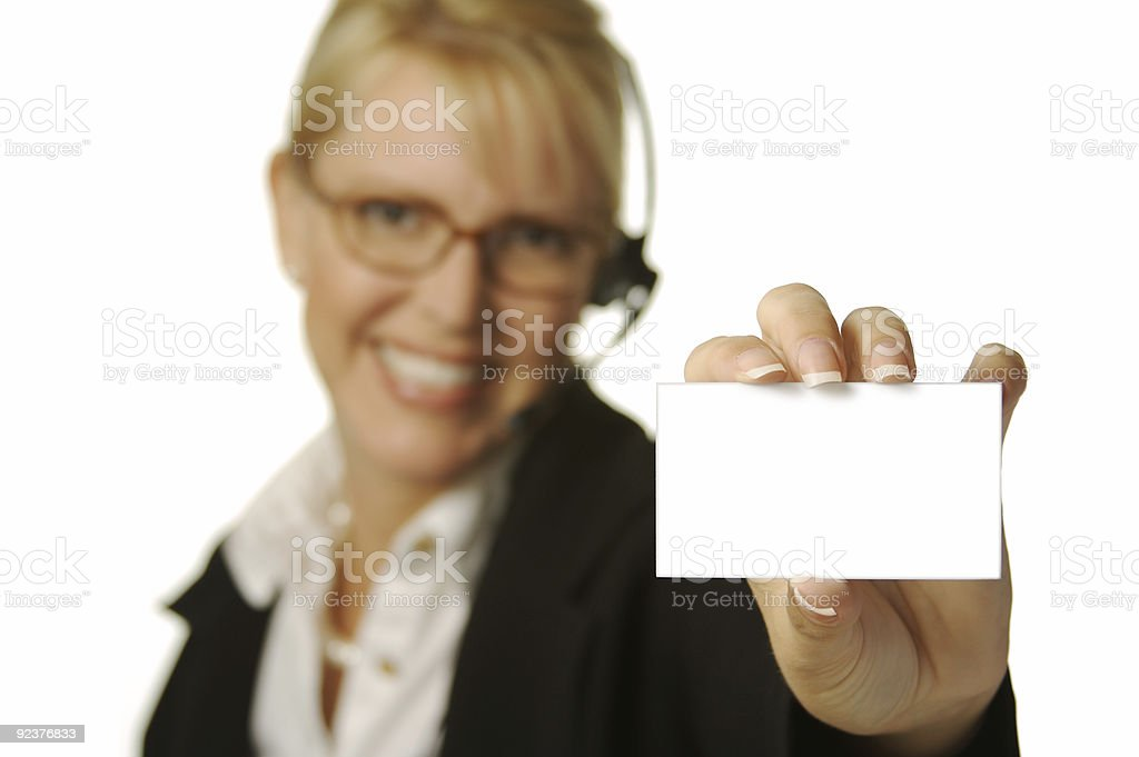 Beautiful Woman Holding Blank Card royalty-free stock photo