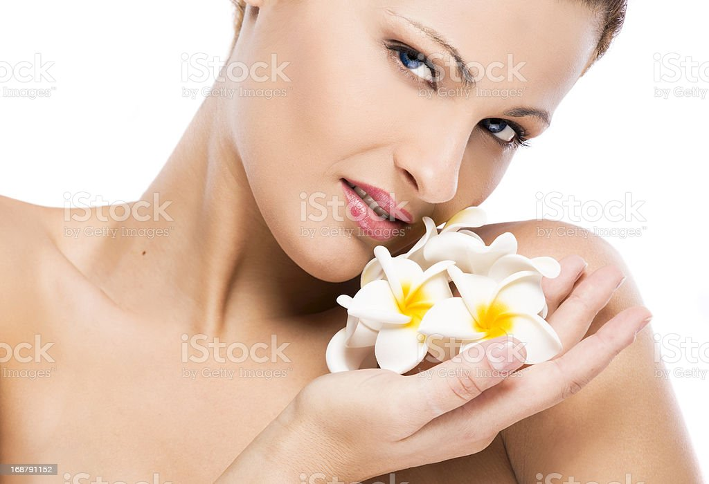 Beautiful woman holding flowers royalty-free stock photo