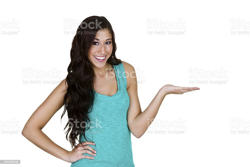Beautiful woman holding her hand open for copy space royalty-free stock photo