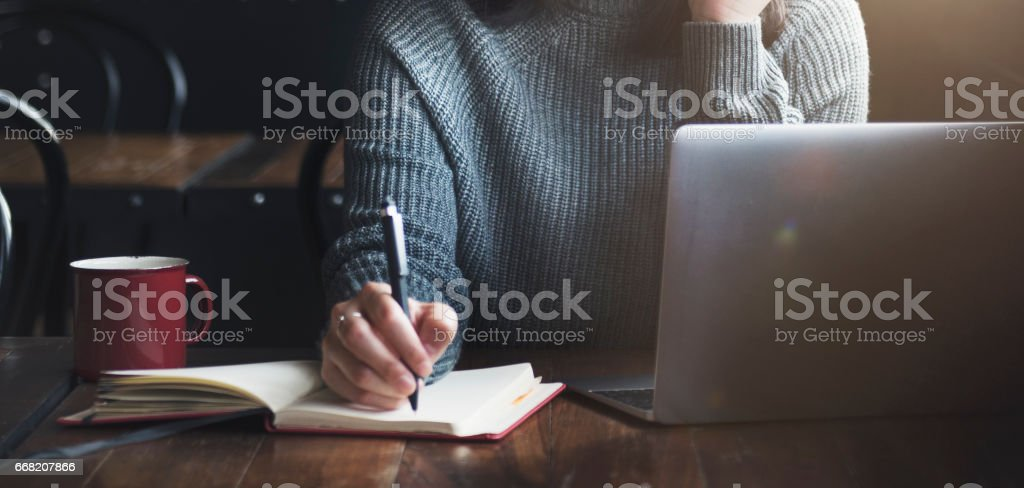 Beautiful Woman Home Office Lifestyle Concept stock photo