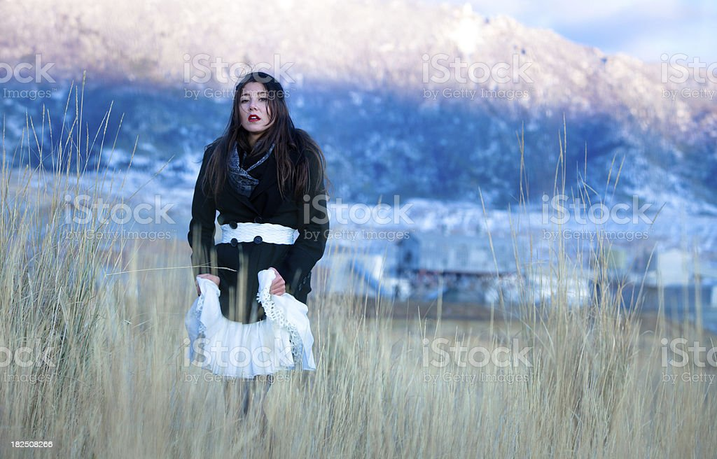 Beautiful woman in a field of tall grass royalty-free stock photo