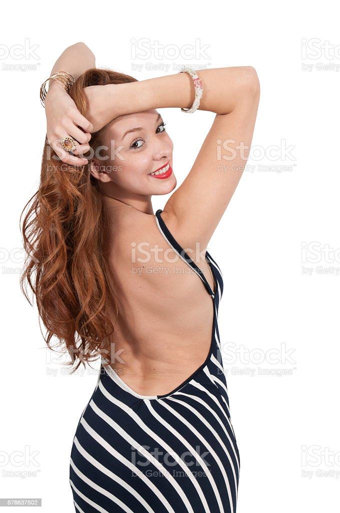 Beautiful Woman in a formal dress stock photo