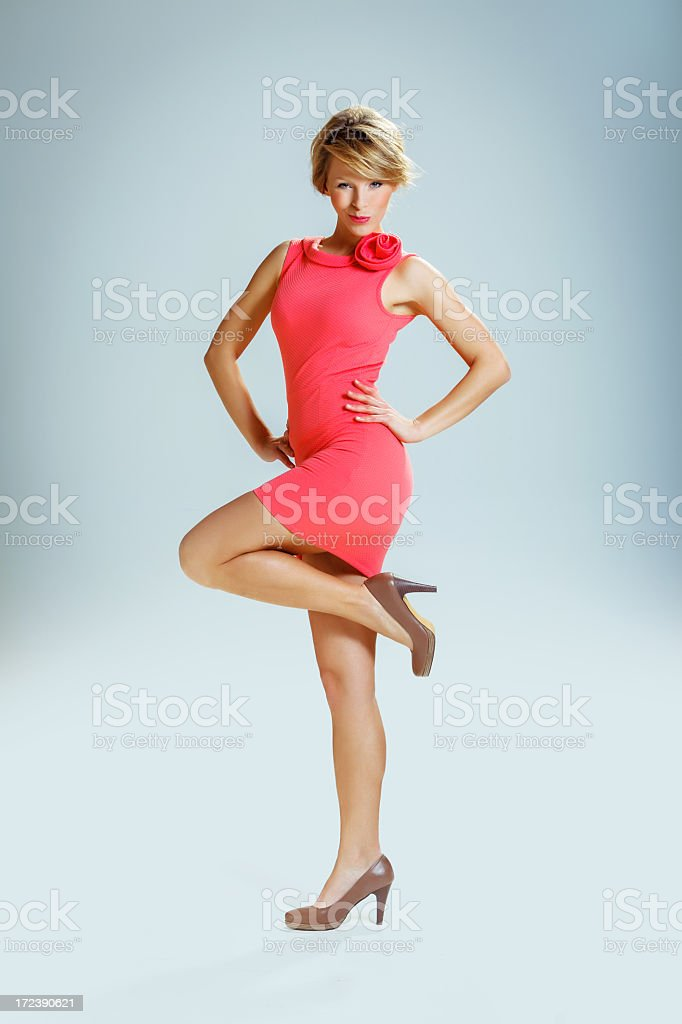 Beautiful woman in a red dress royalty-free stock photo