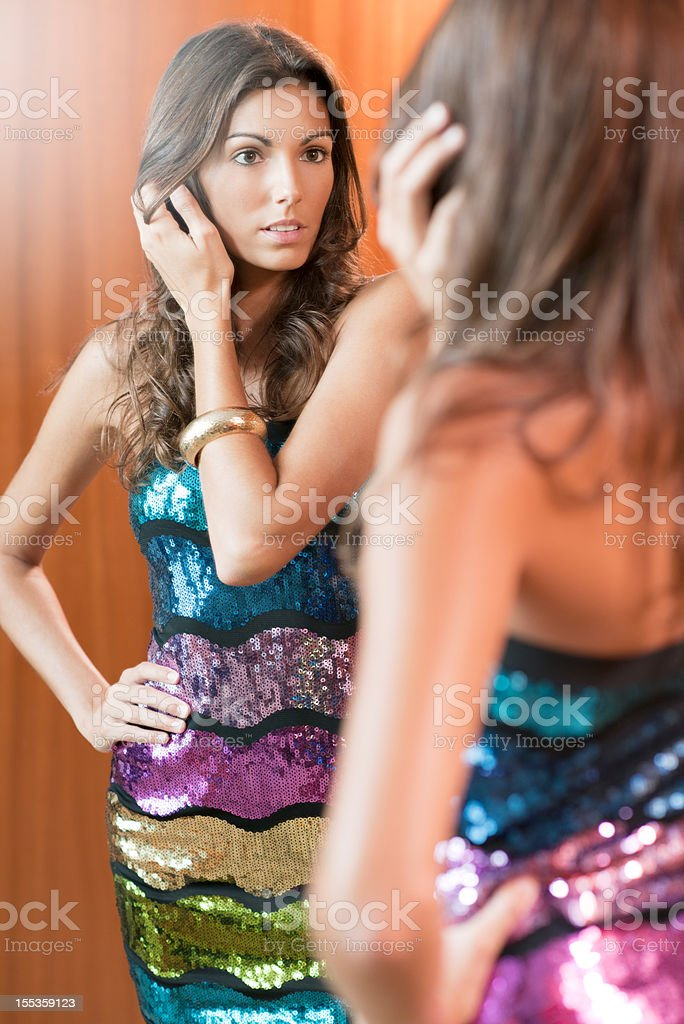 Beautiful Woman in a Sequin Fashion Dress, Haute Couture royalty-free stock photo