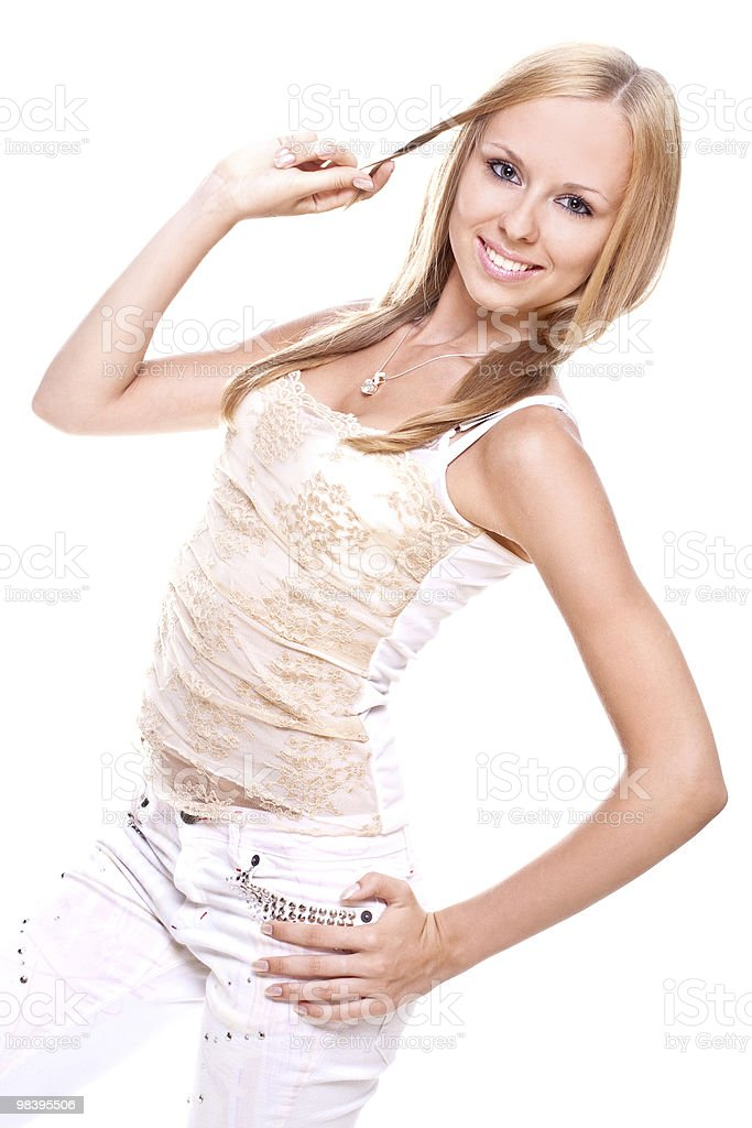 beautiful woman in a white clothing royalty-free stock photo