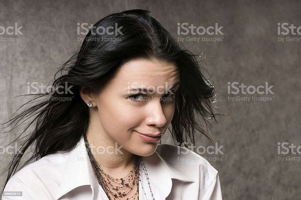 Beautiful woman   in a white shirt royalty-free stock photo