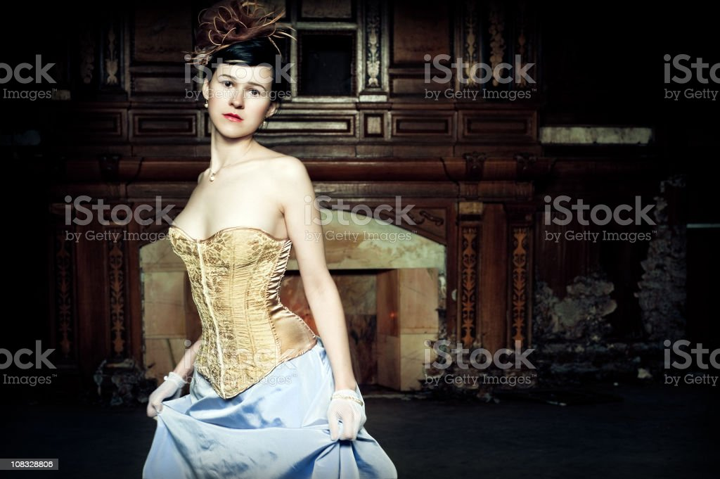 Beautiful woman in an old house royalty-free stock photo