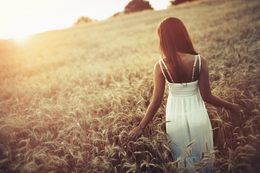 Beautiful woman in barley fields during sunset