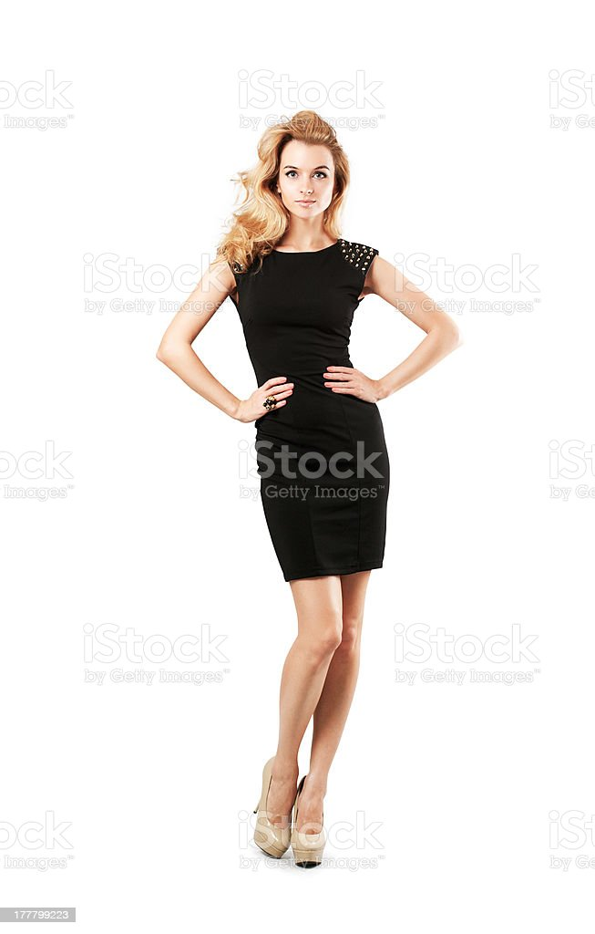Beautiful Woman in Black Dress Isolated on White stock photo