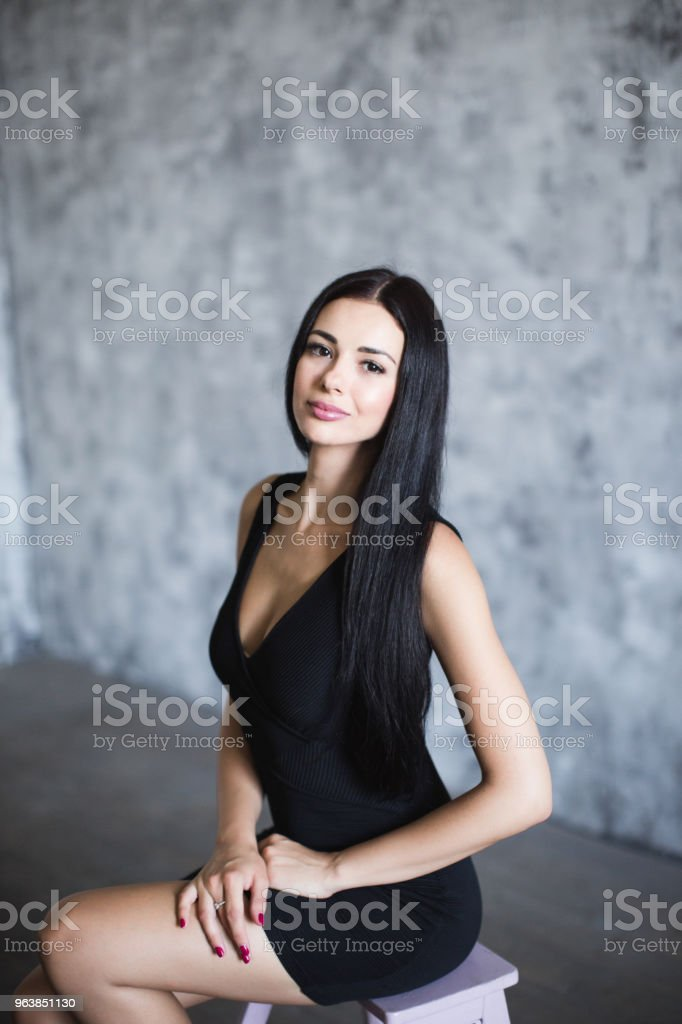 Beautiful woman in black dress. - Royalty-free Adult Stock Photo