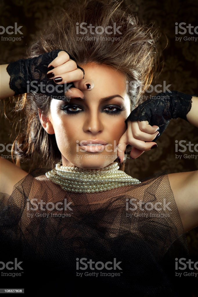 Beautiful Woman in Black Lace Outfit royalty-free stock photo