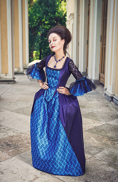 beautiful woman in blue medieval dress - petticoat stock pictures, royalty-free photos & images