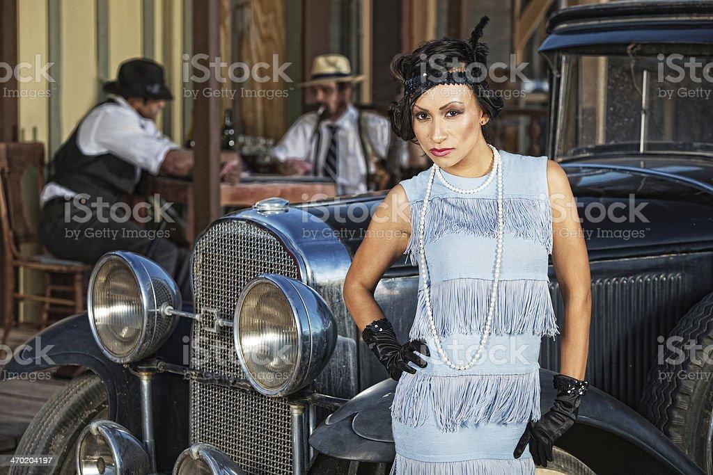 Beautiful Woman in Blue stock photo