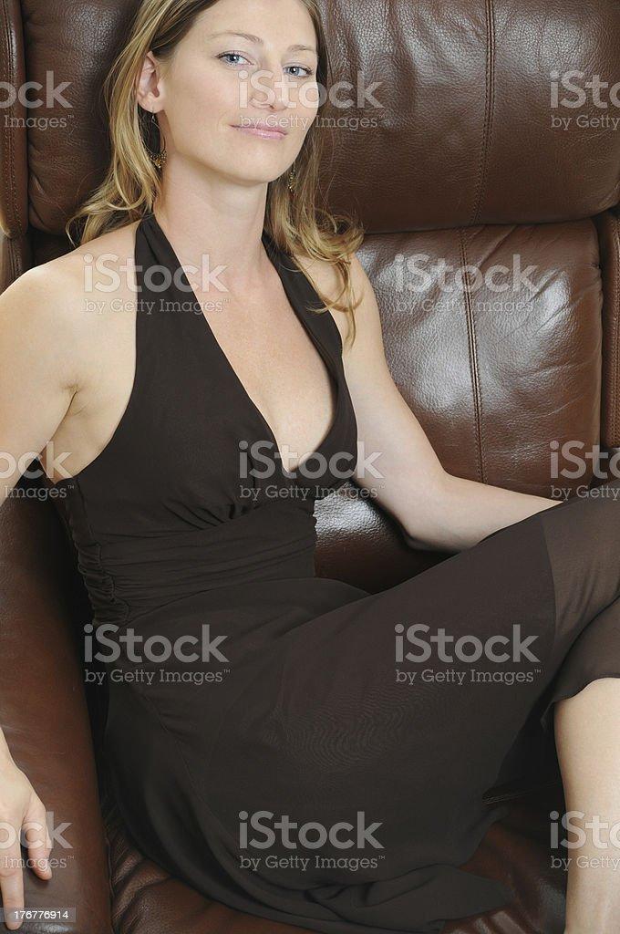 Beautiful Woman in Brown Dress royalty-free stock photo