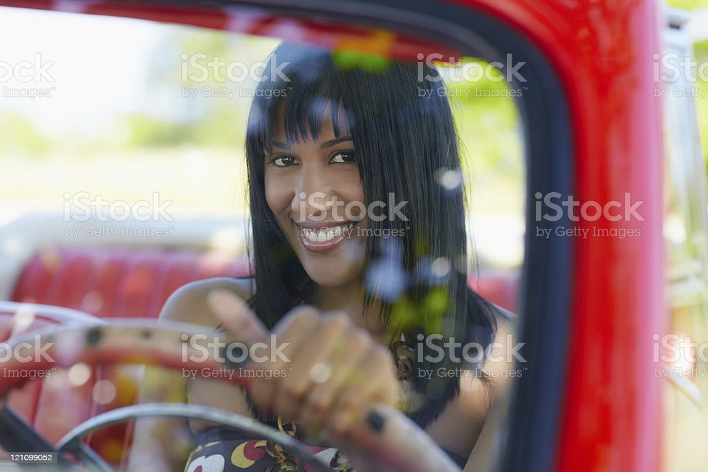 beautiful woman in cabriolet car royalty-free stock photo