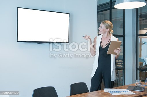 istock Beautiful woman in casual wear Looking At Computer Screen in modern office 855513172