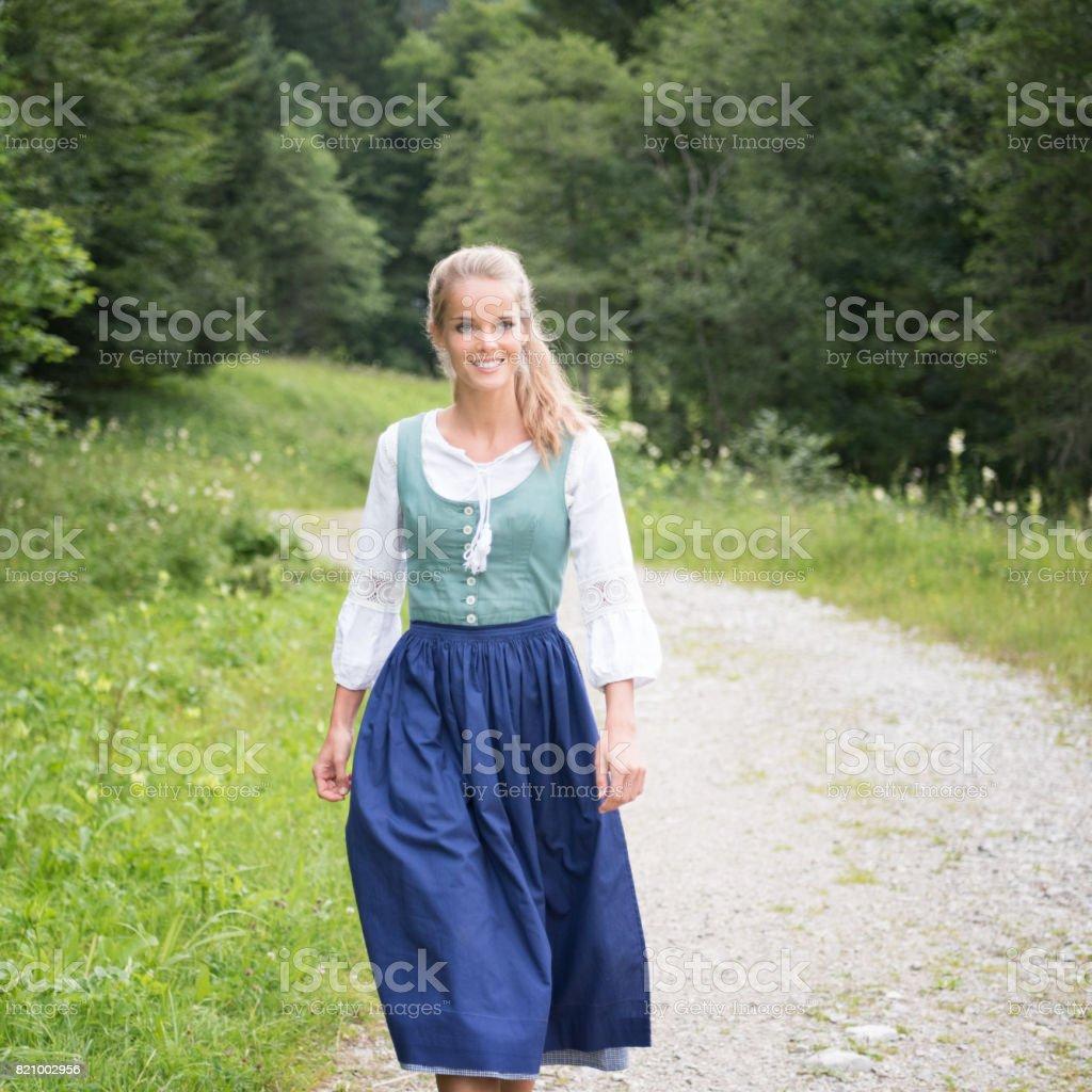 Beautiful woman in Dirndl Tracht, Austria stock photo