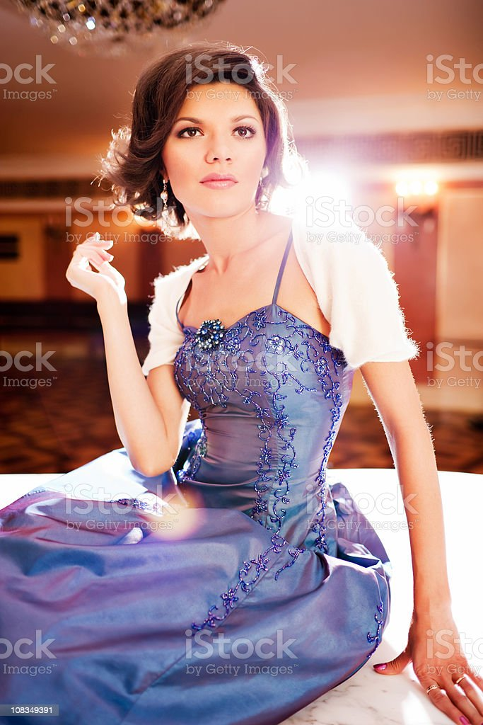 Beautiful Woman in evening dress portrait royalty-free stock photo
