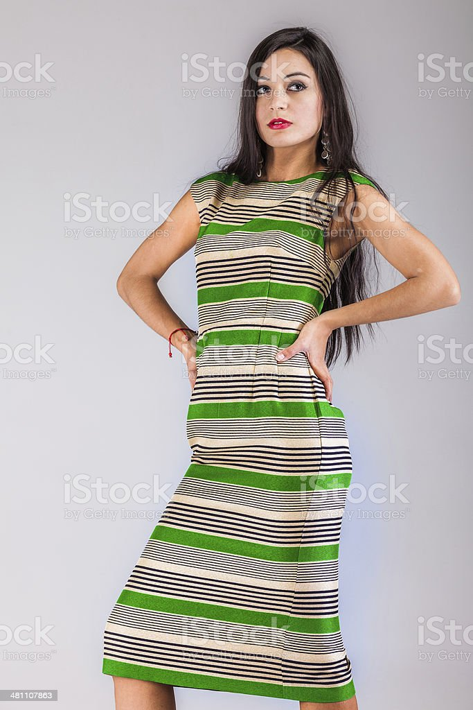 Beautiful woman in fashionable clothes stock photo