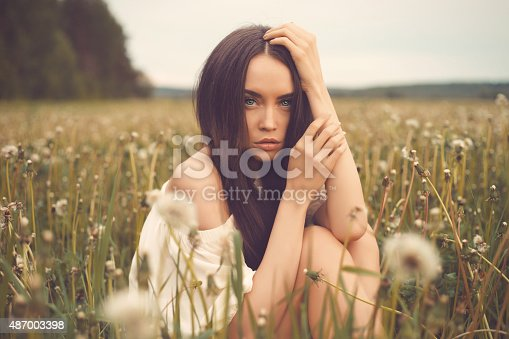 Outdoors art photo of beautiful lady in dandelions field